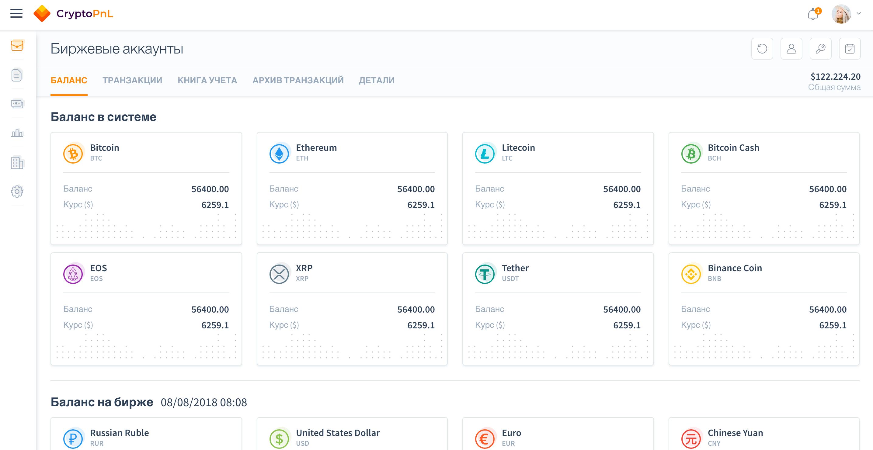 баланс биржевых аккаунтов в CryptoPnL